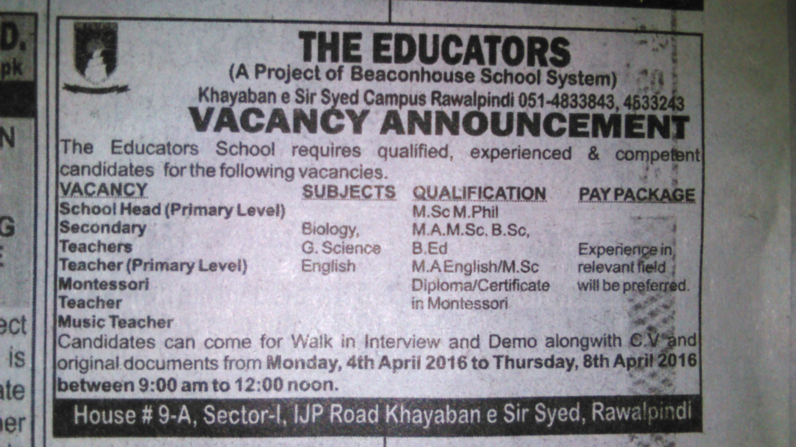 The Educators Rawalpindi  Teaching Jobs 2016
