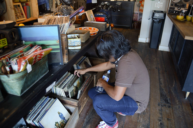 flipping through records