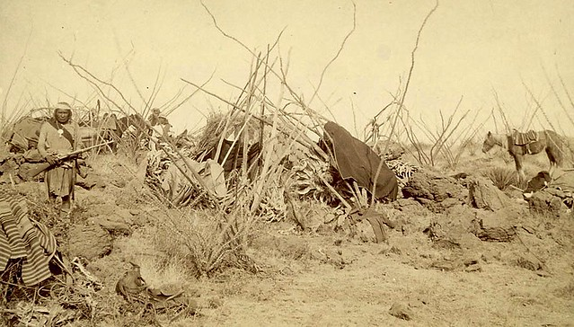 51 Geronimo's camp with a sentinel standing guard. -1886