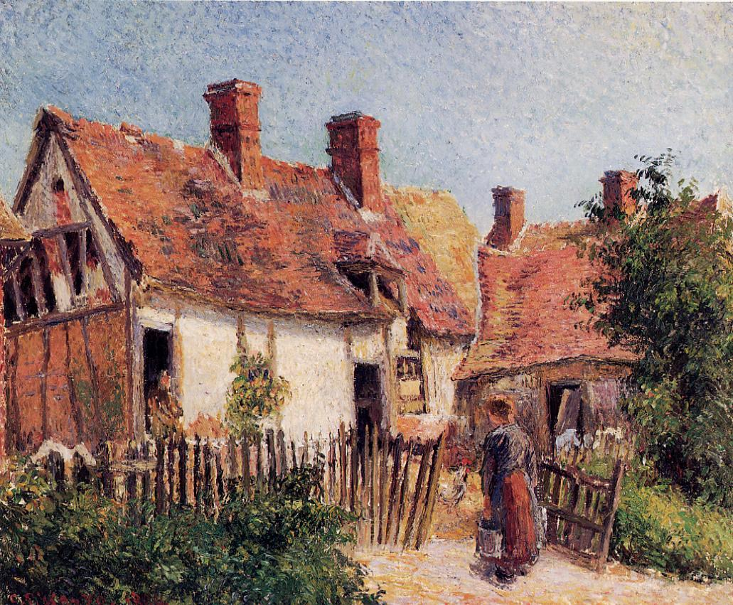 Old Houses at Eragny by Camille Pissarro, 1884