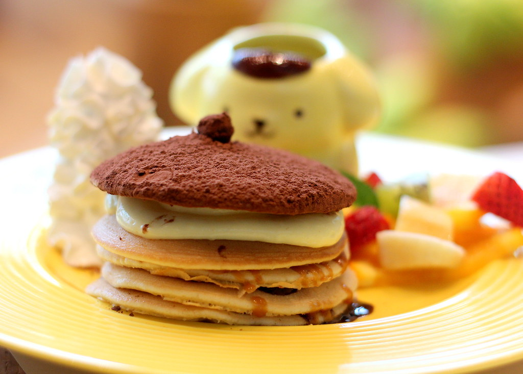 pompompurin cafe bagel special pancake tower
