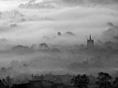 Fog on the town B&W