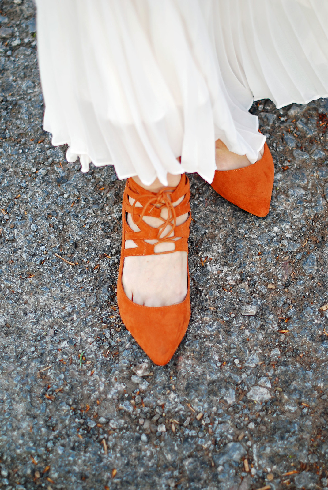 SS16 White pleated maxi skirt, orange lace up flats | Not Dressed As Lamb