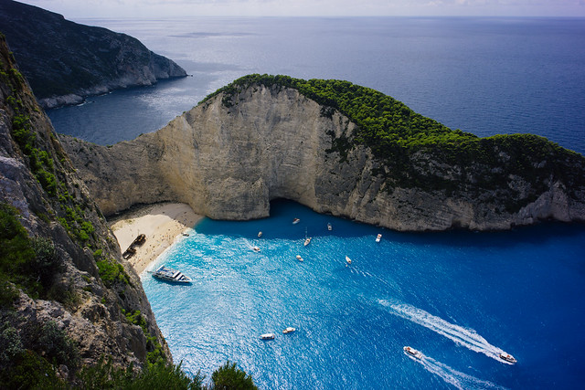 Boats coming and leaving Navagio Beach, Zakynthos (Greece)