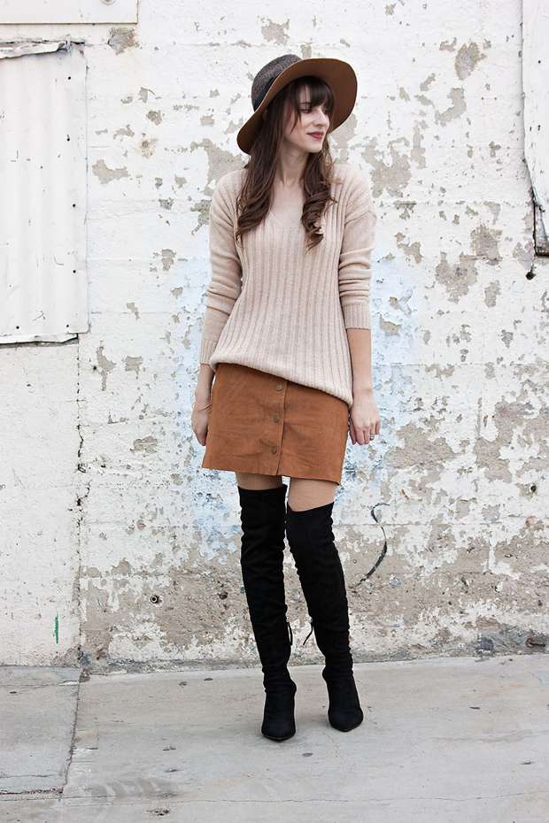 Zara Over the Knee Boots, Asos Suede Skirt, Gap Sweater, Anthropologie Hat