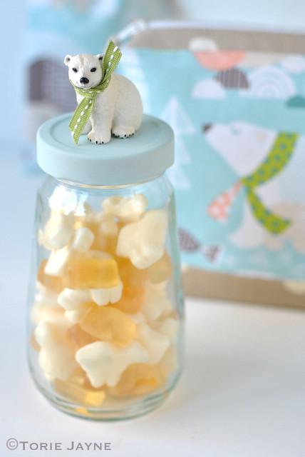 Handmade Polar bear jar full of polar bear candy 1