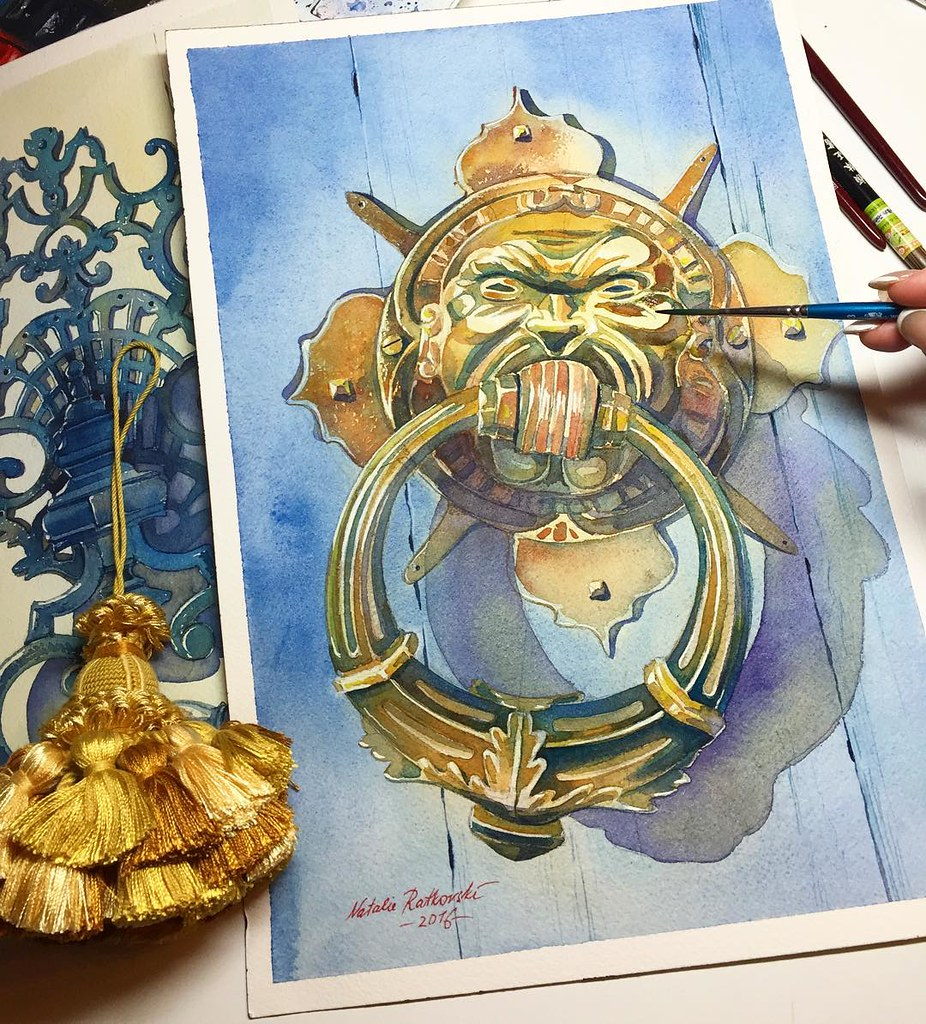 An another door knocker in watercolor on Arches grain fin, 300g/m2 (25,5x36cm). I saw the door knocker in Florence last Spring. But I'm an artist, so I decorated it in my work after my fancy 😊 Apropos Florence, the golden tassel (on the left side of
