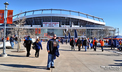 Jan 17 2015 - Gabe in front of Sports Authority Field in Denver