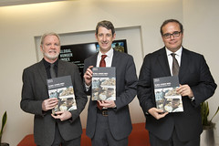 Panelists proudly display copies of the 2015 Global Hunger Index