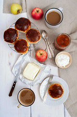 Sweet buns with poppy seeds and apricot jam