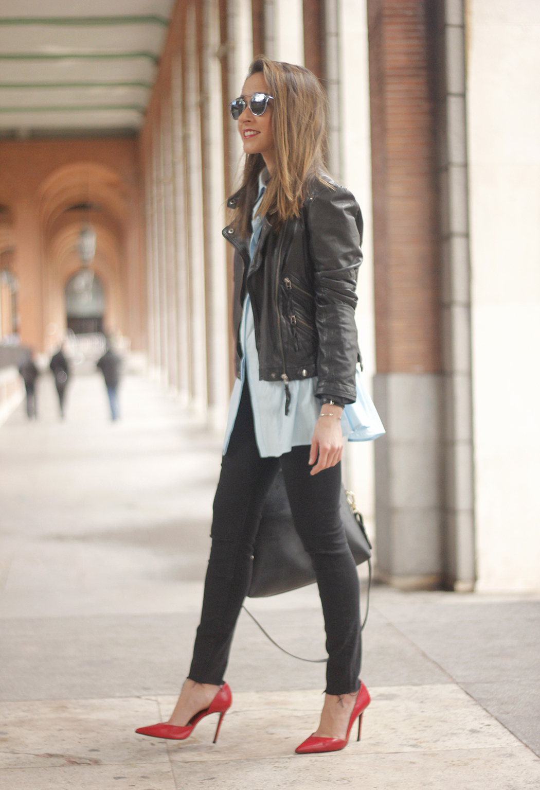 black leather biker black ripped jeans blue shirt outfit streetstyle07