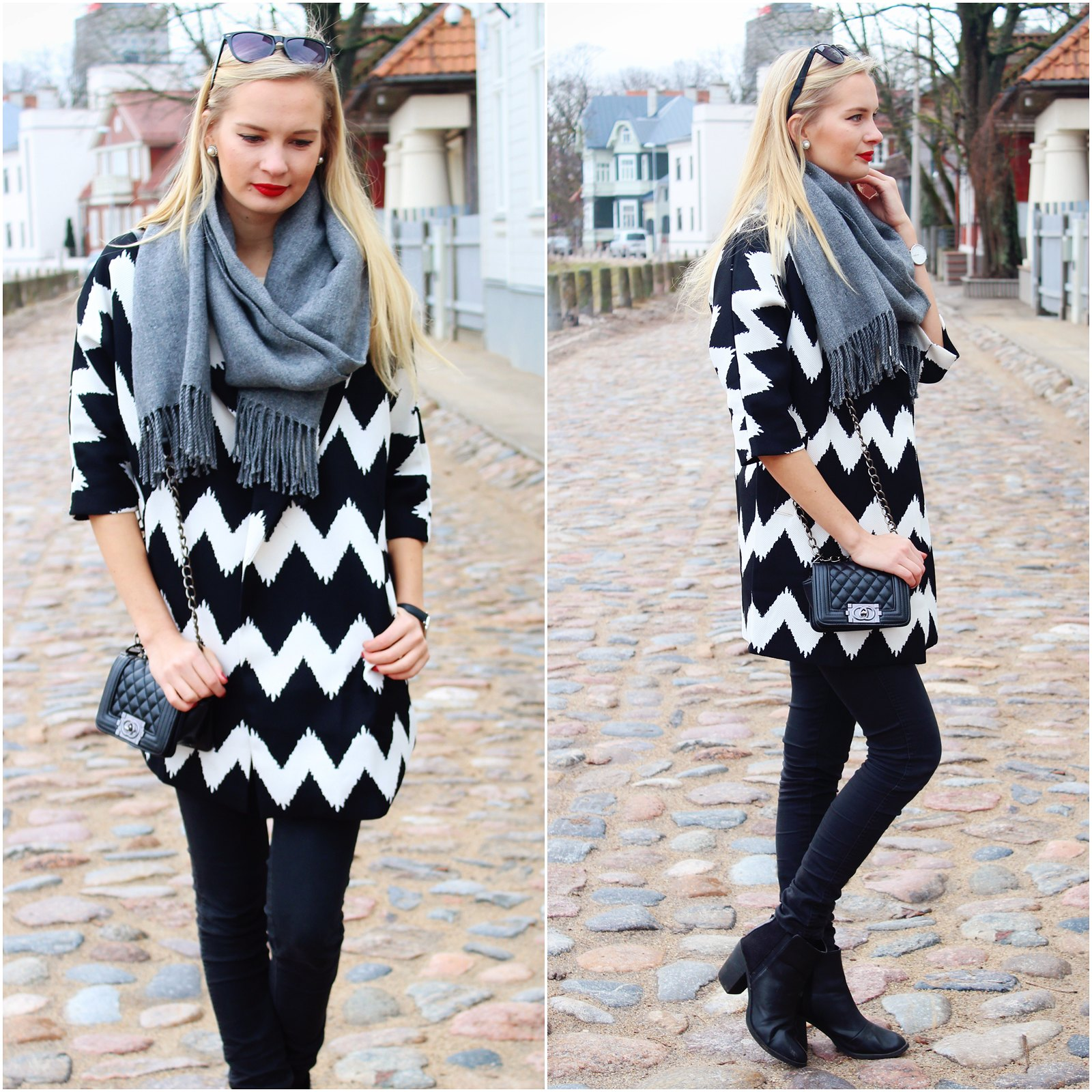 Chevron print coat