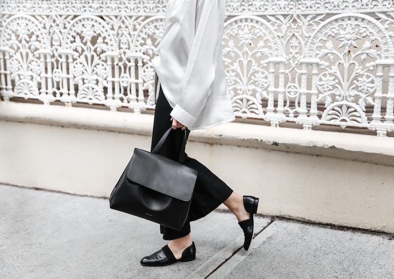 monochrome minimal street style inspo fashion blogger Haider Ackermann silk shirt flare pant mansur gavriel bag black white modern legacy outfit (4 of 6)