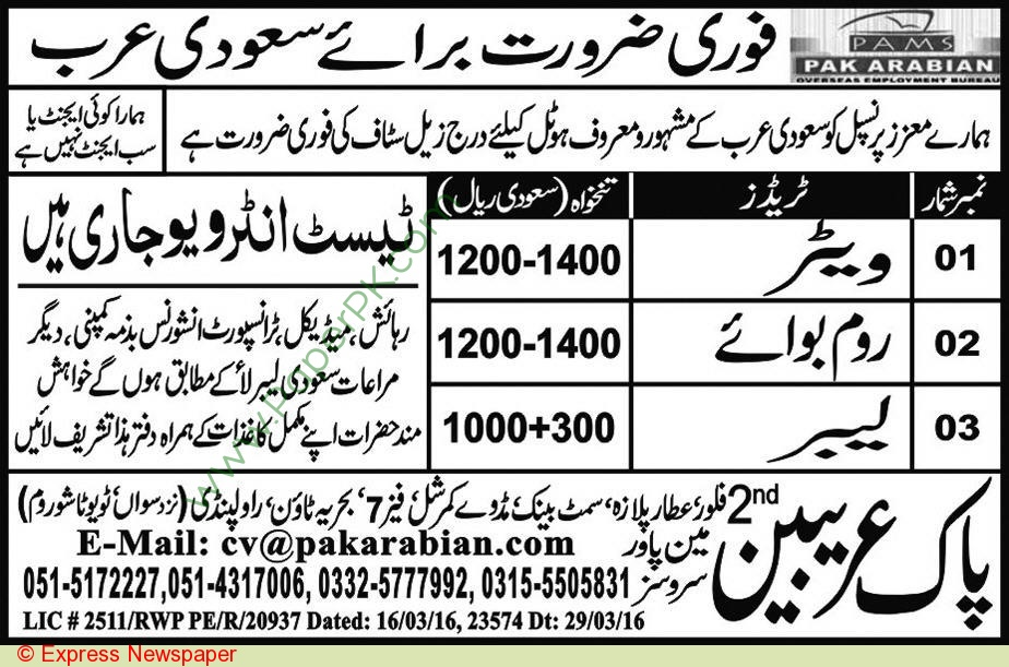 Waiter Room boy And Labour Jobs 2016
