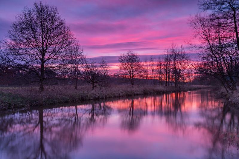 Sonnenaufgang Wümme Nordarm in Fischerhude