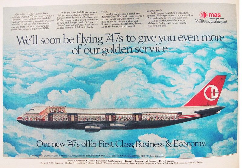 malaysia airlines old newspaper 747