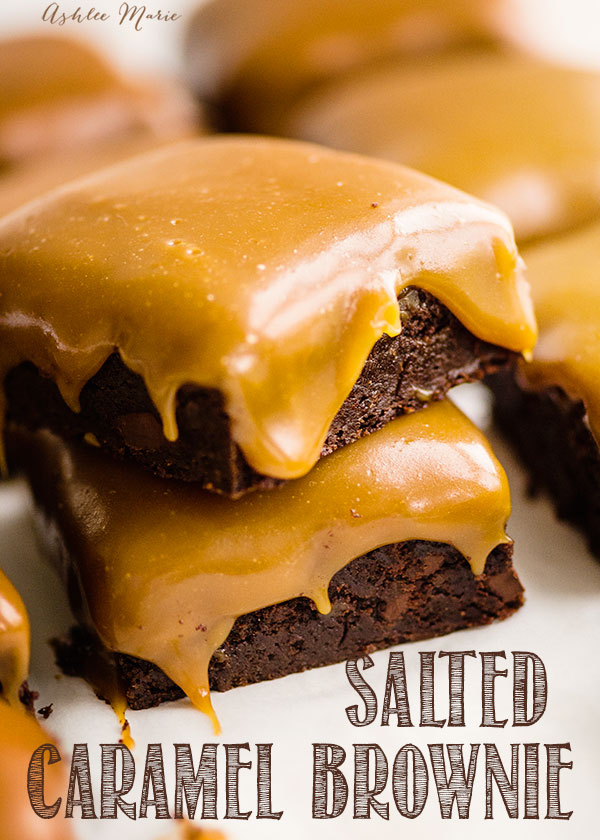 Rich, fudgy, chocolate brownies topped with a gooey salted caramel