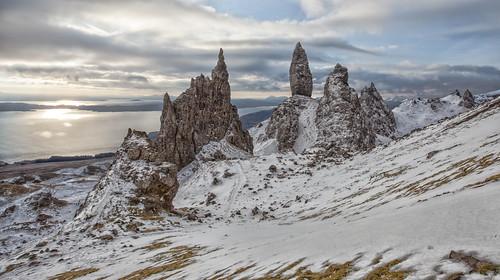 snow mountains skye ice sunrise scotland highlands trotternish oldmanofstorr staffin storr