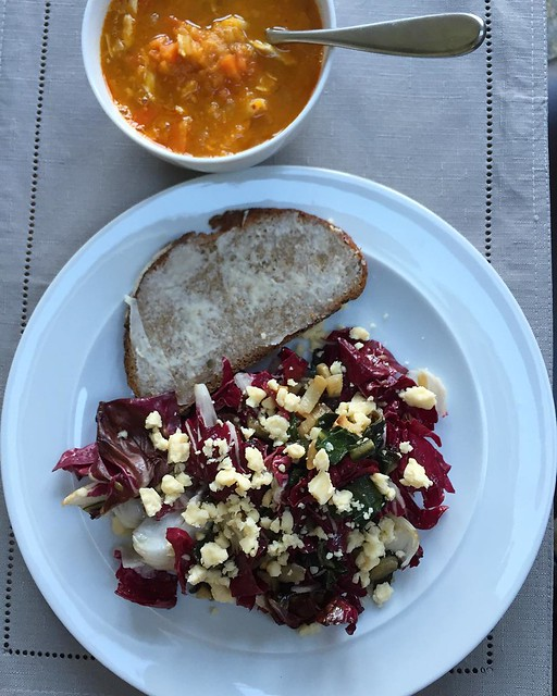 Lunch: Sunday vat of soup with cooked chicken added, leftover Zuni bread salad with extra radicchio and crumbled Lancashire cheese #leftovers