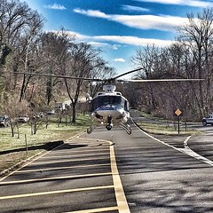 Helicopter Eagle 2 landing on the Clara Barton Pkwy, in front of Lock 6. #USPP