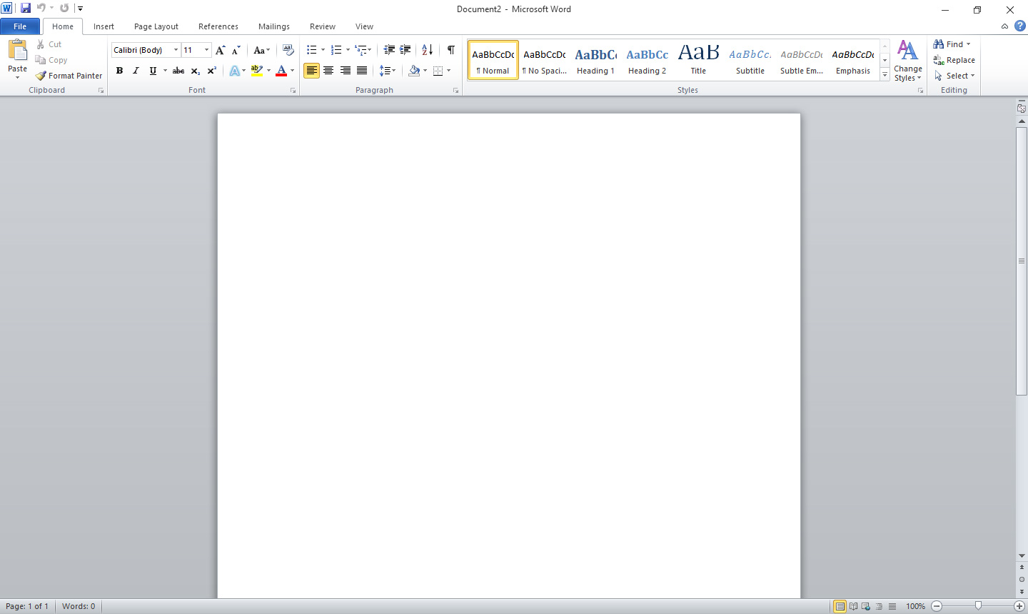 MS Word 2010 Interface
