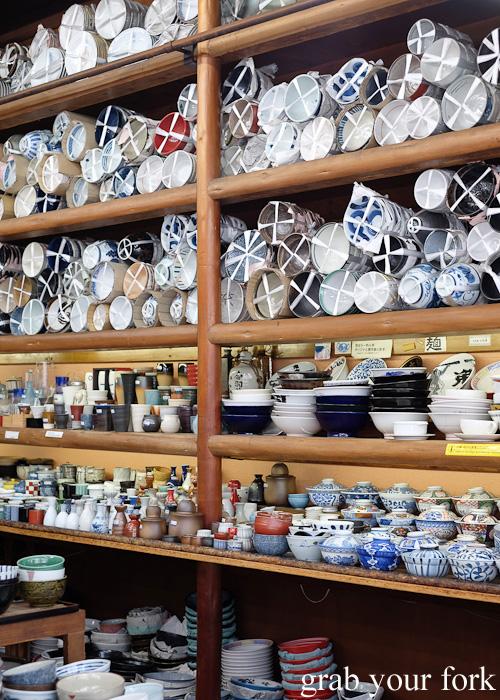Japanese Crockery in Kitchentown on Kappabashi Dori in Tokyo