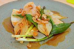 Langoustine, Charred Shallots, Wild Garlic Leaves