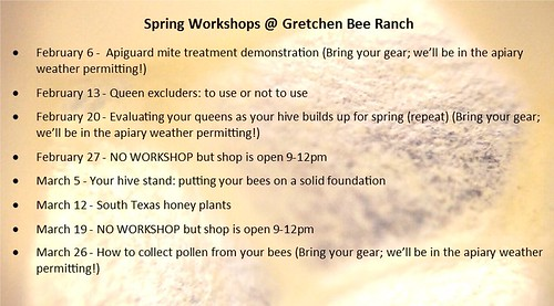 Free Spring workshops at the Bee Ranch