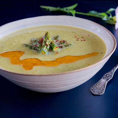 asparagus soup with chile-spiced asparagus tips