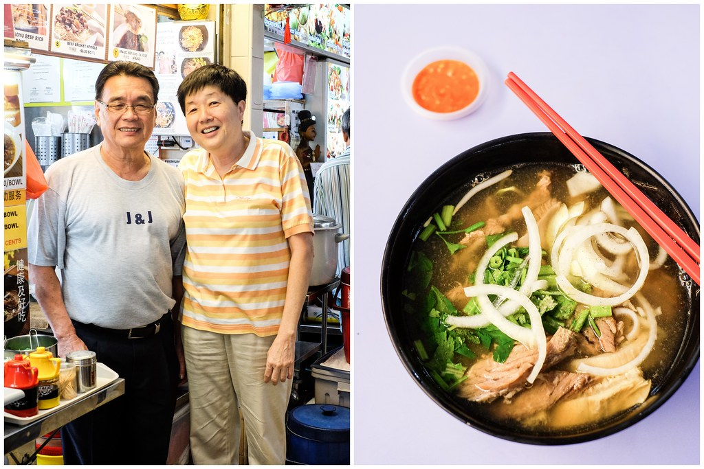 J & J Special Beef Noodle's Owners (William and his wife) and their Beef Noodle in a Bowl