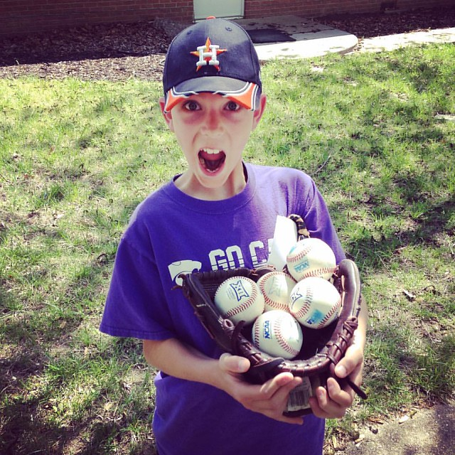 He thinks baseball games are Easter egg hunts. Four foul balls, one home run at K-State game #manhattanks #KState #batcats