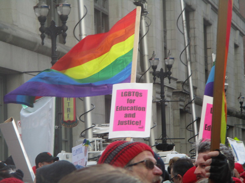 "Thompson Center Rally - ""LGBTQs For Education and Justice"" sign"