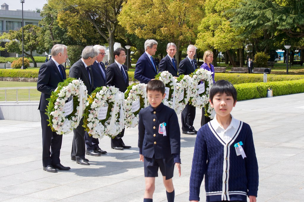Secretary Kerry And His Counterparts Lay Wreaths at the Hiroshima Peace Memorial Park