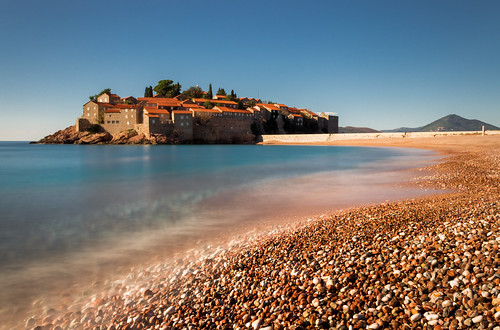 longexposure beach coast pebbles islet adriatic montenegro