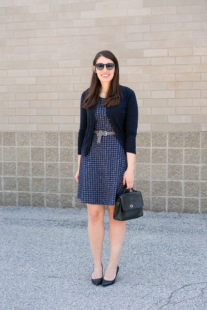 navy dress + navy cardigan + navy heels; spring work outfit | Style On Target