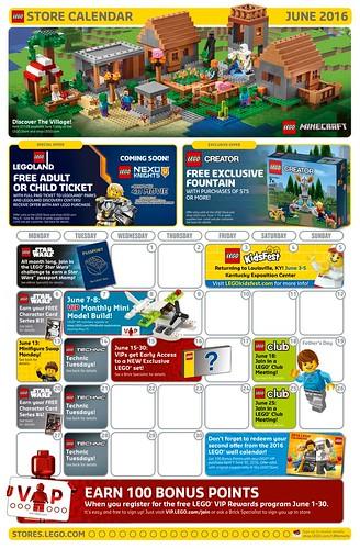 LEGO June 2016 Store Calendar