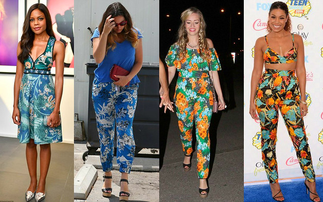 tropical-print-plunging-neckline-dress-tropicalprint-loose-trousers-tropical-print-jumpsuit-tropical-print-bralet-with-matching-coord-high-waist-trousers,tropical print bralet, tropical print trousers, tropical print high waisted pants, tropical print jumpsuit, how to style tropical print, how to style tropical print, how to wear tropical print, how celebrities wore tropical print, tropical print head to toe, all over tropical print