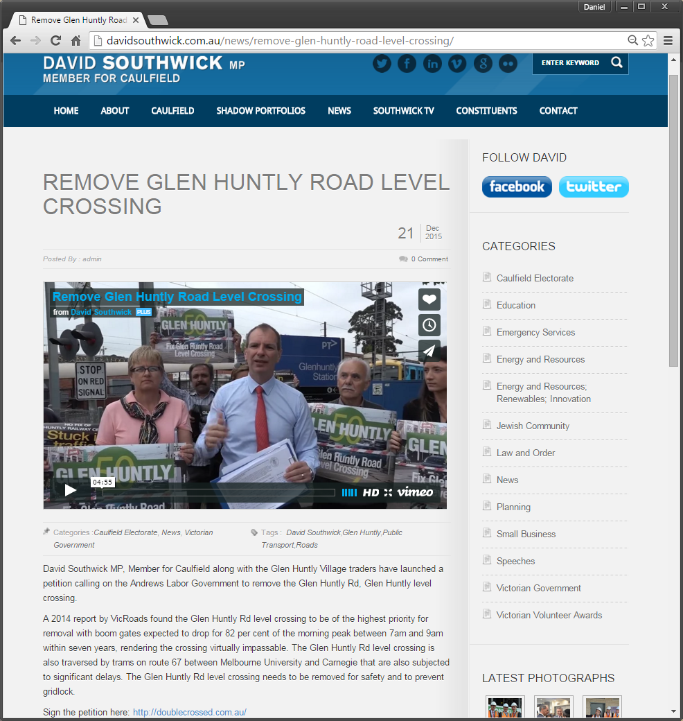 David Southwick web site: Glenhuntly level crossing petition