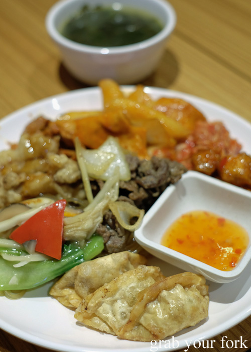 Dumplings and bulgogi beef at the all you can eat Korean lunch buffet at The Bab, Haymarket