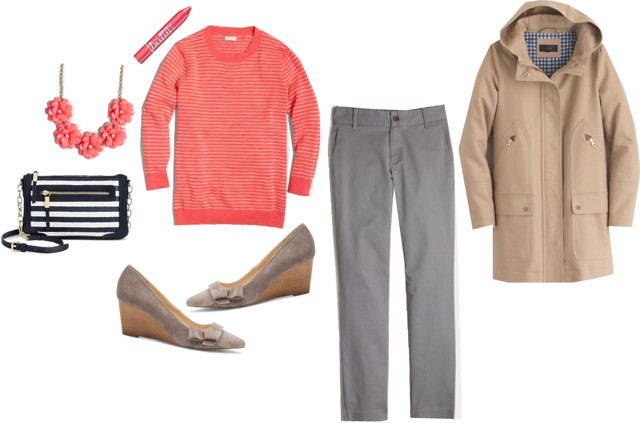 What I Wish I Wore: J.Crew Factory sweater and chino pants; J.Crew chateau trench coat; stripe crossoby purse Target