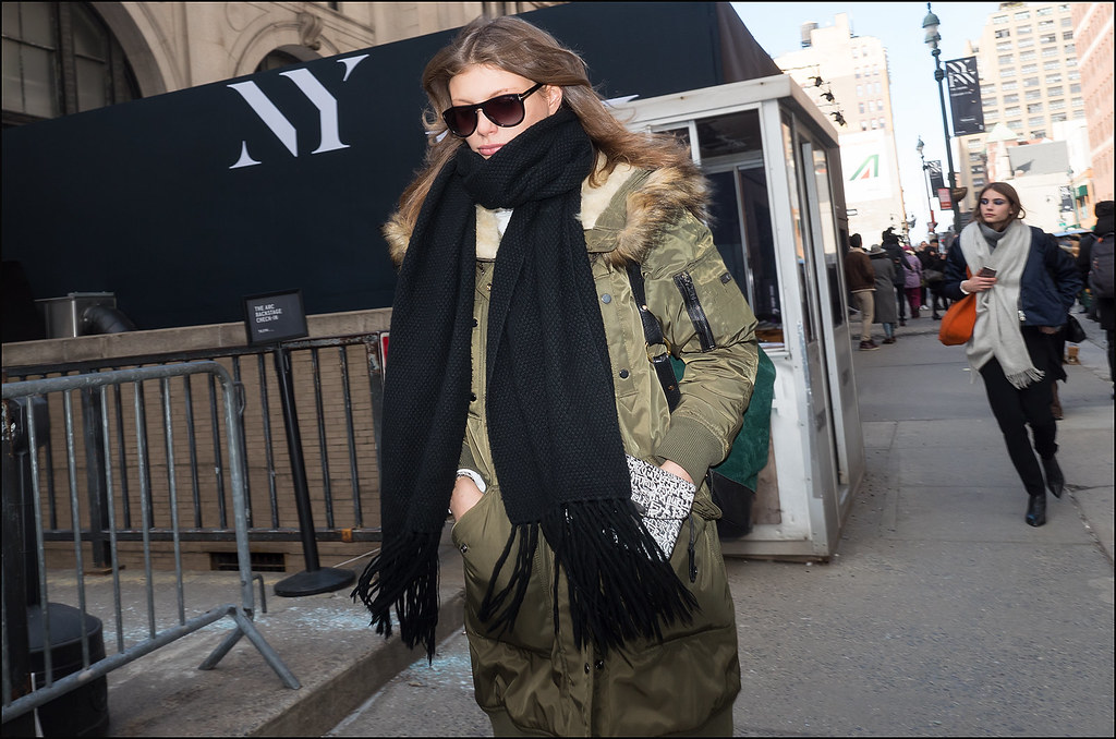 Model Off Duty on 33rd St.  NYFW  2-2016