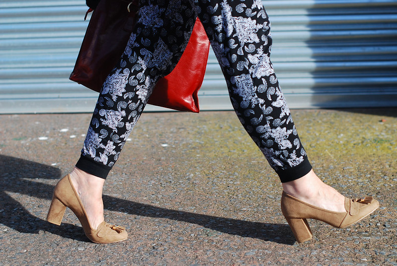 Paisley print joggers with block heeled loafers | Not Dressed As lamb