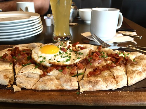 "March 5 #dailylunches - breakfasty flatbread at  the Toronto Mill Street Brew Pub. Beer ""mimosa"" on the side. (!)"