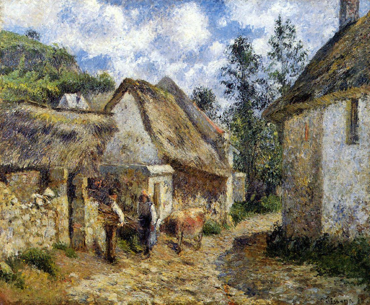 A Street in Auvers (Thatched Cottage and Cow) by Camille Pissarro, 1880