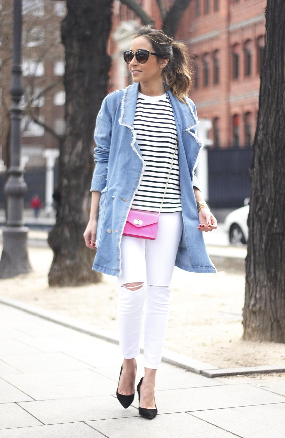 Stripes and Denim Coat Gloria Ortiz Heels Accessories Sunnies Outfit19