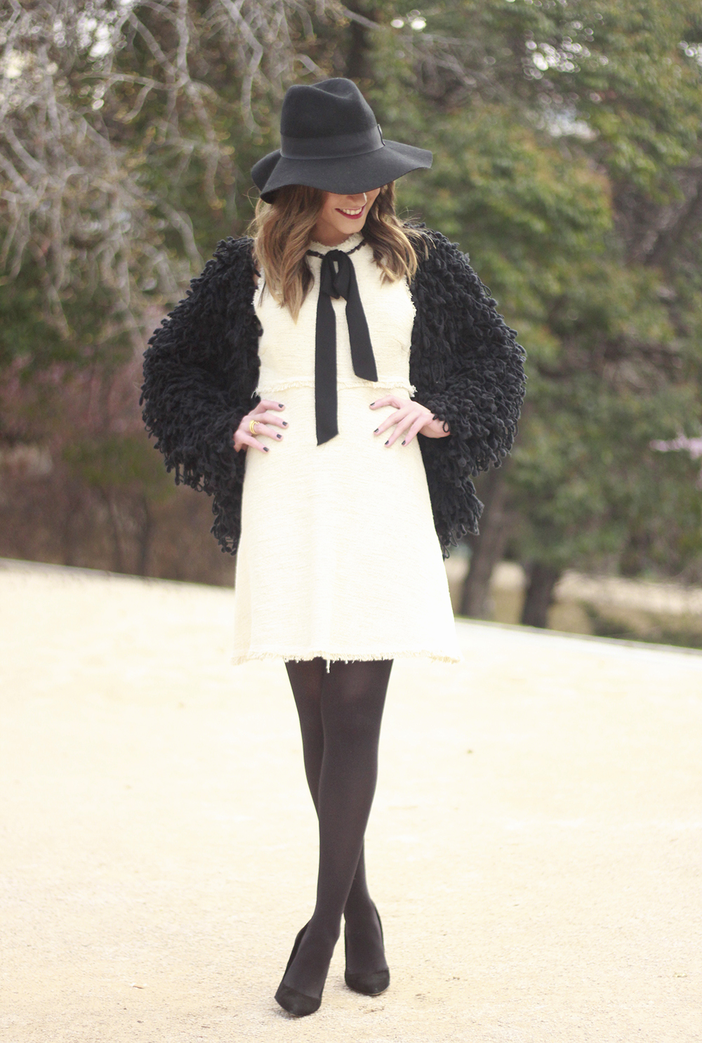 White tweed dress with bow black jacket hat outfit15