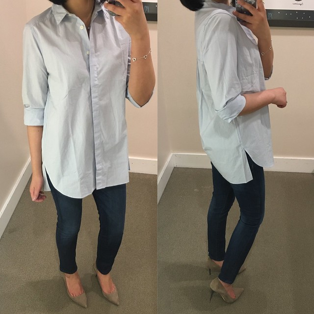 LOFT Shirred Tunic Shirt, size XXS regular