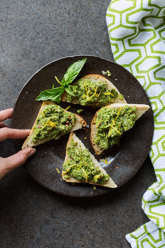 Toast with Lemony Pea Pesto