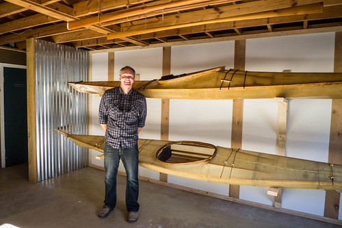 Chad Quinn with Skin-on-frame kayaks