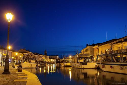 sunset sea italy water twilight italia mare bluehour canale cesenatico